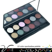 12 color mineral makeup contour palette,shiny eyeshadow cosmetic palette for women