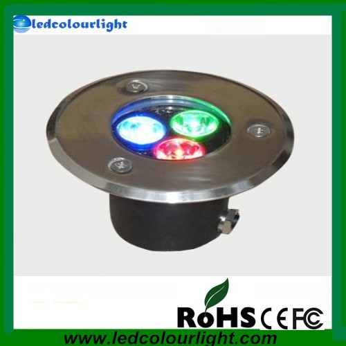 3*1w RGB LED underground light,85*H92mm;DC12V input,can be controlled by common rgb controller or dmx decoder