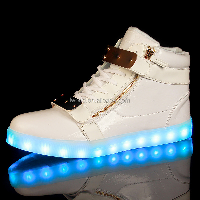 New design high top led shoes with 7color light up led shoes mens led shoes