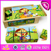 Lovely design wooden cube puzzle toy for kids,wooden toy puzzle cube for children,promotional folding cube puzzle W14F004