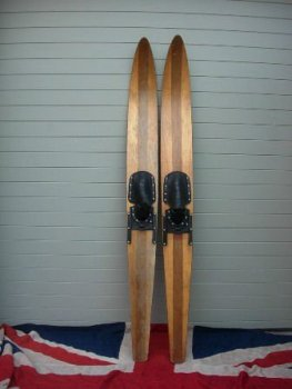 VINTAGE WOODEN WATER SKIS
