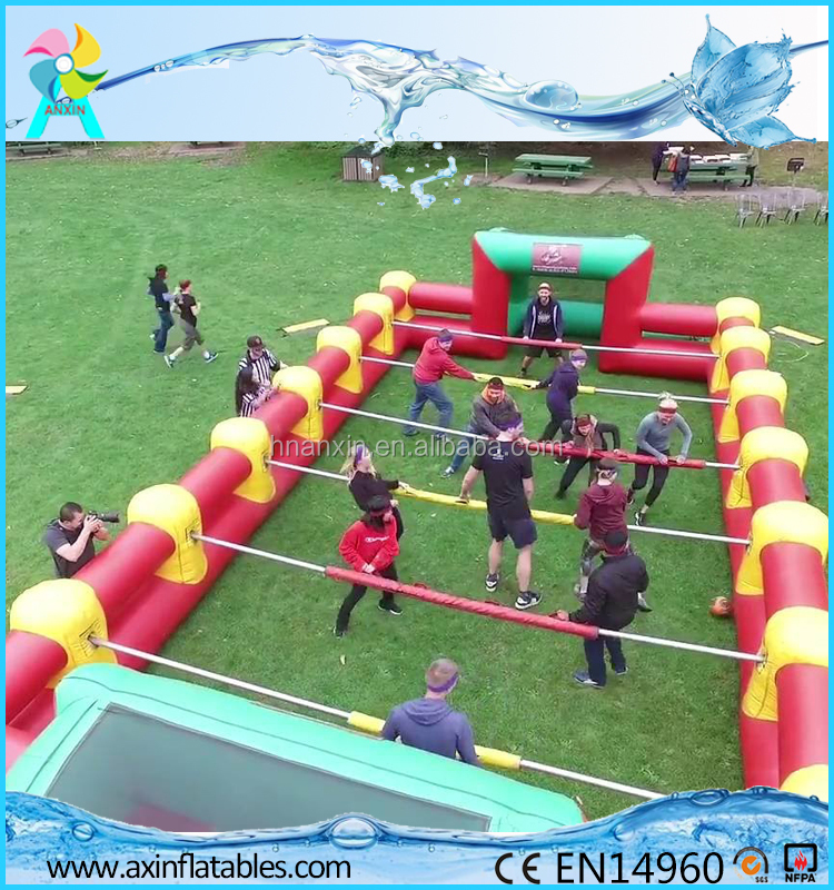 human table football, inflatable foosball pitch, inflatable foosball court