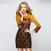 Embroidered stitching lace dress ,casual dress wholesale bangkok