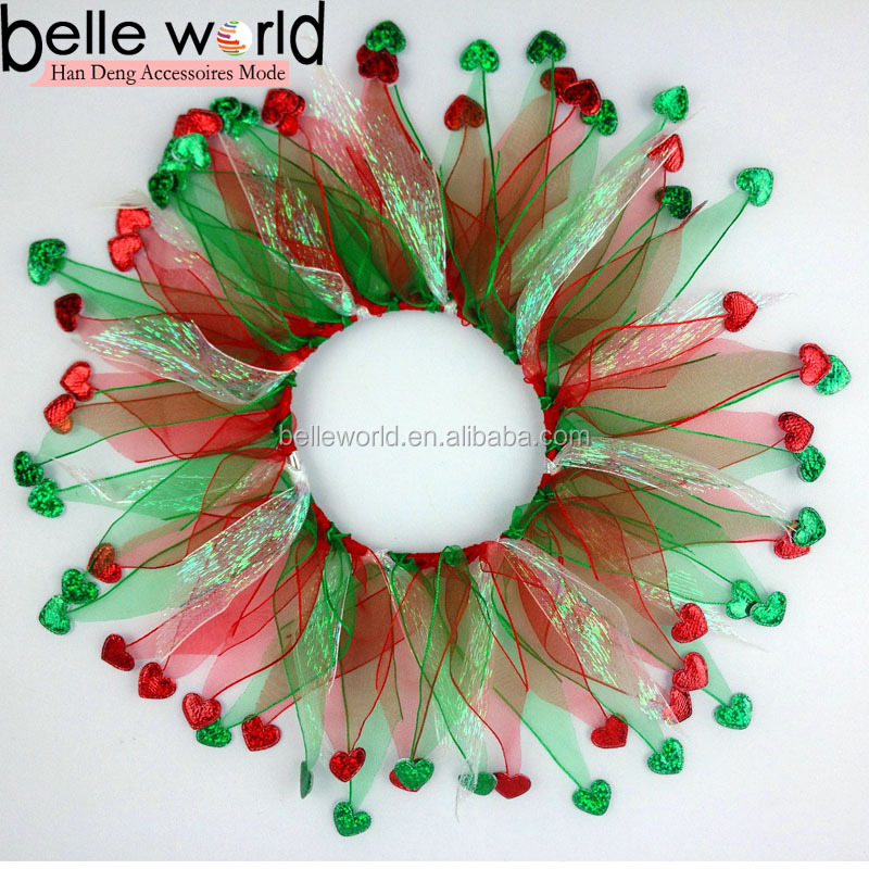 Christmas Pet Decoration Accessory Fabric Tulle Pet Collar for Dog with Heart-shape