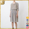 Latest ladies elegant fashion loose stripe one piece women dress
