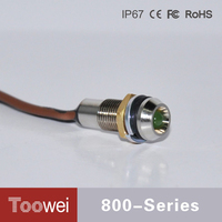 Toowei Waterproof 24V mini led indicator lights 6mm Green indicator lamp small with wire