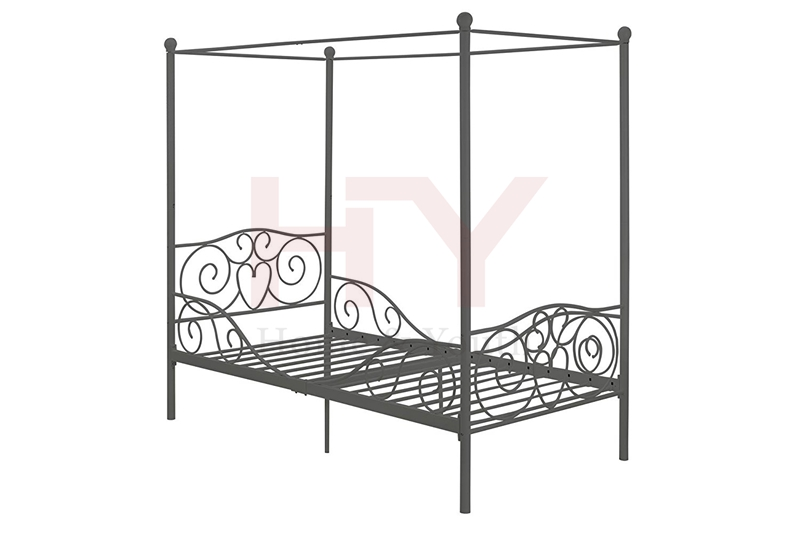 heart scroll design Twin White pink black Canopy Metal Bed
