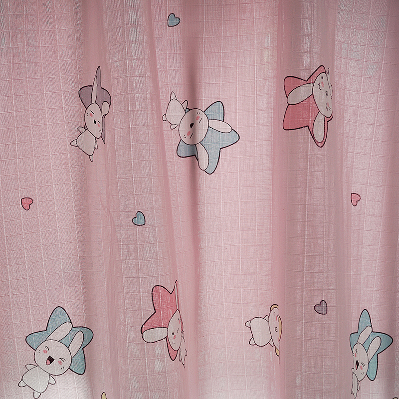 Wholesale Pink rabbit Printed Cotton Muslin Fabric for Baby