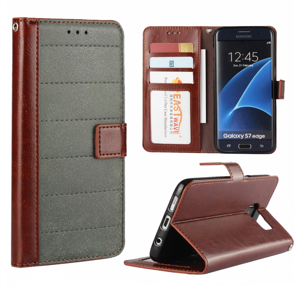 Best Selling Products 2017 Vintage Matte Crazy Horse Leather Case Wallet for Samsung Galaxy S7 Edge Cover with Card Holder