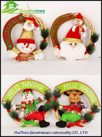 Wholesale christmas wreath decorations Santa And Snowman Fabric Christmas Wreath Christmas tree decoration
