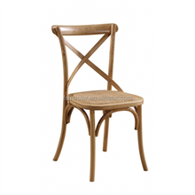 classic wooden rattan seat armless wedding party dining x cross back chair