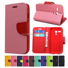Fancy Dual Colour Leather PU Mobile Phone Case For LAVA X1 MINI ,Korea Style Flip Cover For LAVA X1 MINI