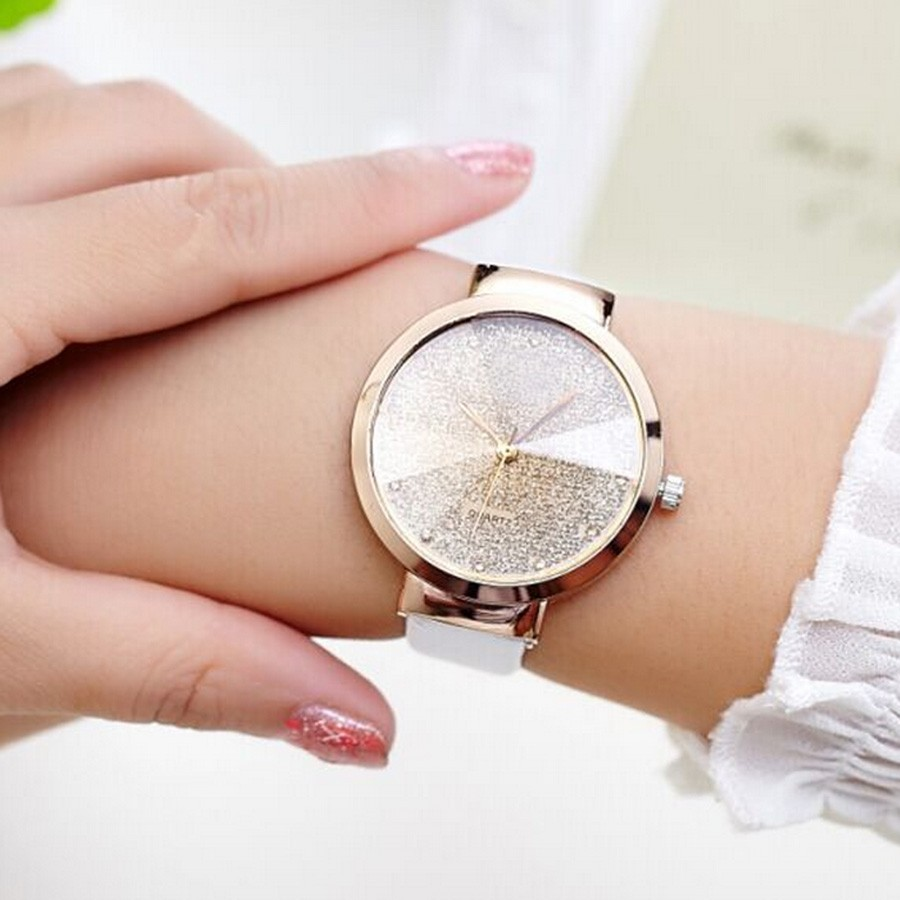 cleverish fashion student watch PU leather band damond lady wrist watch