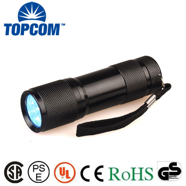 9 led 365nm uv flashlight for detecting fluorescer in cosmetics and baby stuff, Counterfeit Banknotes, Minerals, diamonds