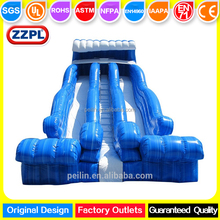 ZZPL Blue 2 lanes inflatable water/dry wave slide, giant inflatable wet slide for sale