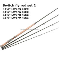 Double handed fly fishig rod switch fly rod