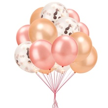 Boomwow 40 pack <strong>12</strong> inches Rose Gold Pearl Latex Confetti Balloons set for Wedding Birthday Party Decorations
