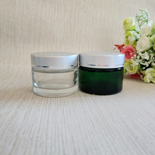 Hot sale sample l0g 20g 30g clear green glass cosmetic face cream jars Y28