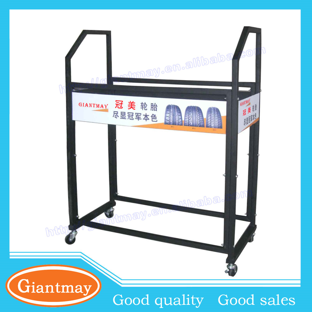 free standing with branding 2 layers metal display tyre stand