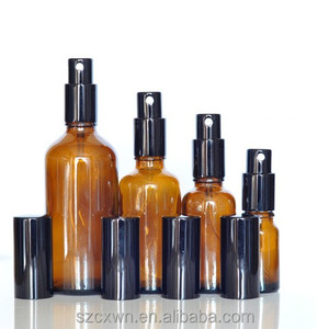 10ml 30ml 50ml 100ml Amber Glass Mist Spray Bottles with Black Top