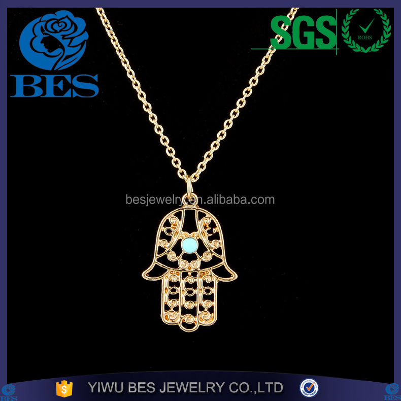 Islam Hand of Fatima Turkry Blue Eye Evil Eye Fashion Jewelry In Necklace for Women Decoration