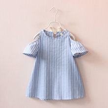 YDA2181summer kid dress o-neck strapless striped girl dress