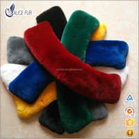 Suppernior China supplier Wholesale Dyed real rex rabbit Fur collar fluffy Fur neck collar for jackets and coats