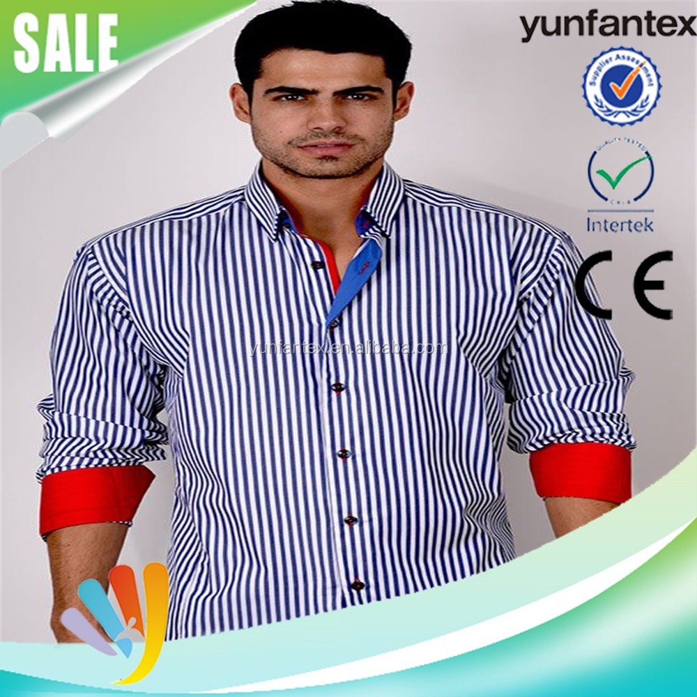 2016 latest fashion popular stripe cotton men shirt high quality