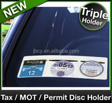 Car Van TAX / MOT / NCT / PARKING PERMIT / INSURANCE DISC HOLDER White TRIPLE