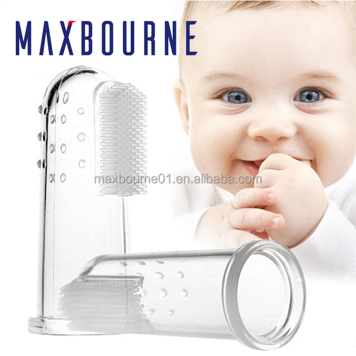 Hot selling Baby BPA free Silicone Clear Finger Tooth&tongue brush Gum Massage ToothBrush
