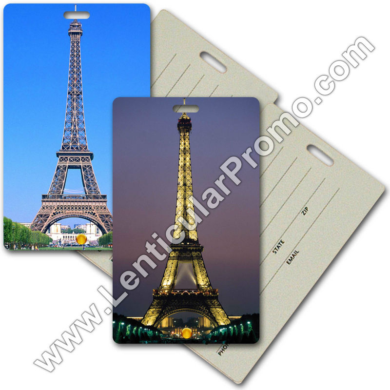 Promotional Travel 3D Luggage Tag Paris Eiffel Tower Day Night Lenticular Souvenir Gift Custom