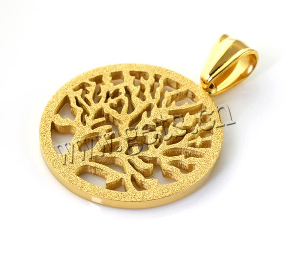 Gets.com stainless steel tree of life gold pendant with mane
