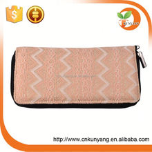 Clip lock plain PU leather women clutch custom made wallet