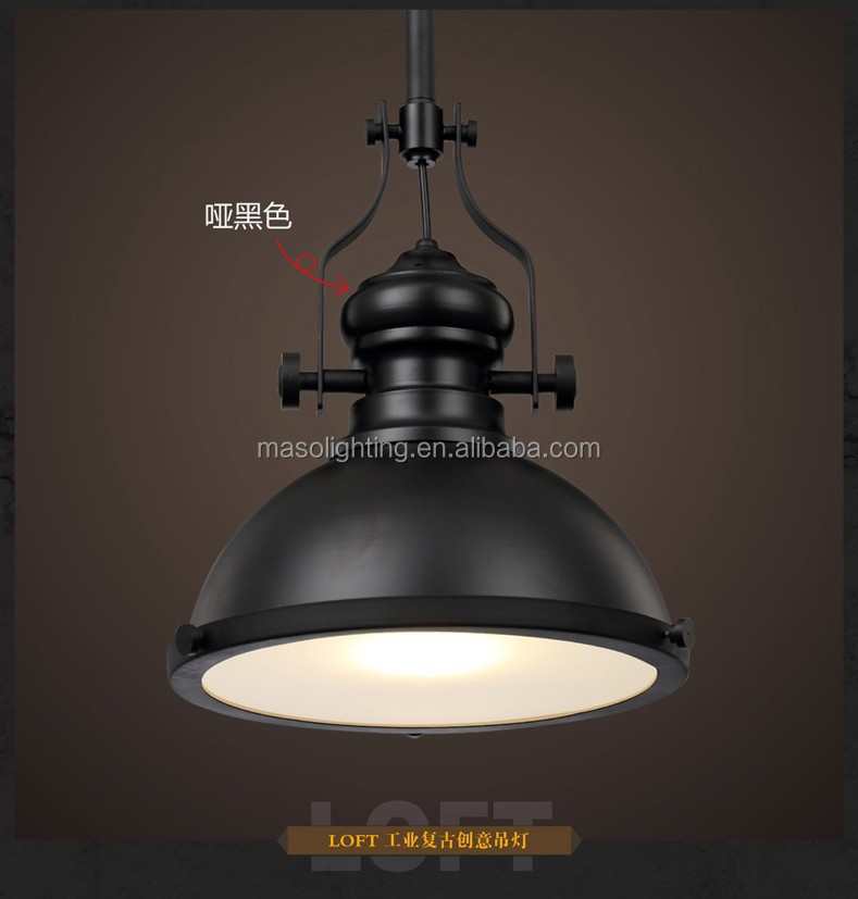 Countryside Farmhouse Industrial Loft Cast Iron Pendant lamp Black coating Rustic Retro Music bar counter Metal vintage light