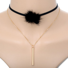 Women 2 Layers Black Fur Ball Pompom Velvet Leather Cord Choker Necklace Long Chain Alloy Bar Pendant Necklace