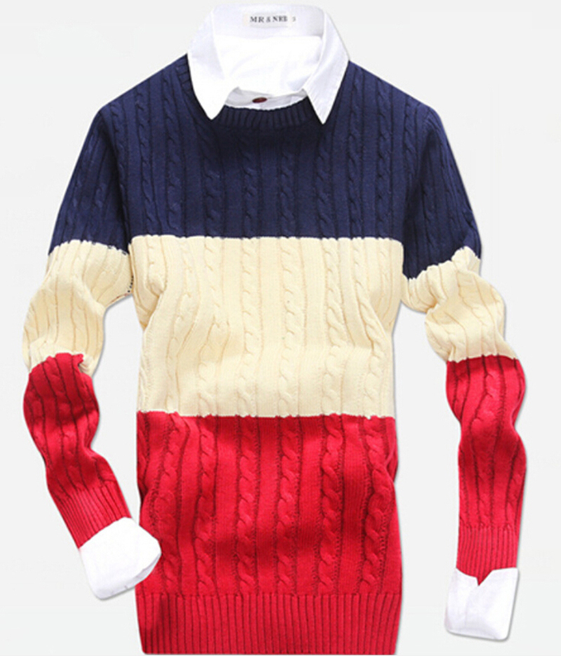 HOT Men's Preppy Style Winter Sweaters High quality Twist sweater knitting Men's Sweater Jumpers pullover sweater menNo.442