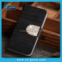 Hot New Products For 2015 Luxury Rhinestone Wallet Mobile Phone Cover,Leather Flip Case For Lenovo S890(Black)