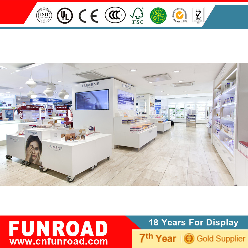 Modern cosmetic disply shelves and display counter for shop decoration