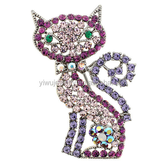 P168-676 crystal rhinestone fancy purple diamante cat brooch