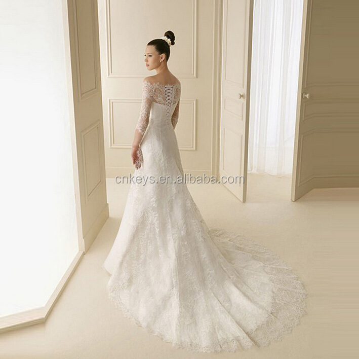K1677A Alibaba factory elegant beaded wedding dresses bridal Open Back Long Sleeve Bridal Dress