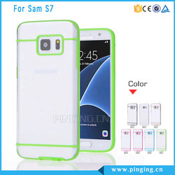 Candy Color Clear Transparent PC TPU 2 In 1 Cell Phone Cover For Galaxy S7 Case