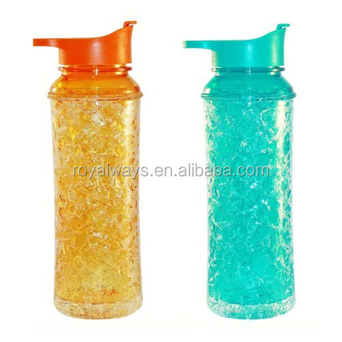 Best seller 600ml Double wall Beaded Freezer Gel Tritan sport water bottle