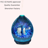 Rainbow beautiful 3D glass firework home fragrance humidifier aroma diffuser