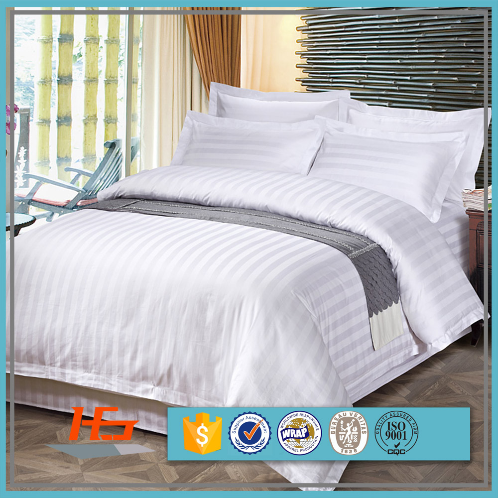 Cheap Wholesale White 2cm Sateen Stripe Bedding Set Hotel Flat Bed Sheets King Size