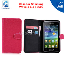 For Samsung Wave 3 S8600 Credit Card Slots Wallet Case Lychee Leather Flip Cover