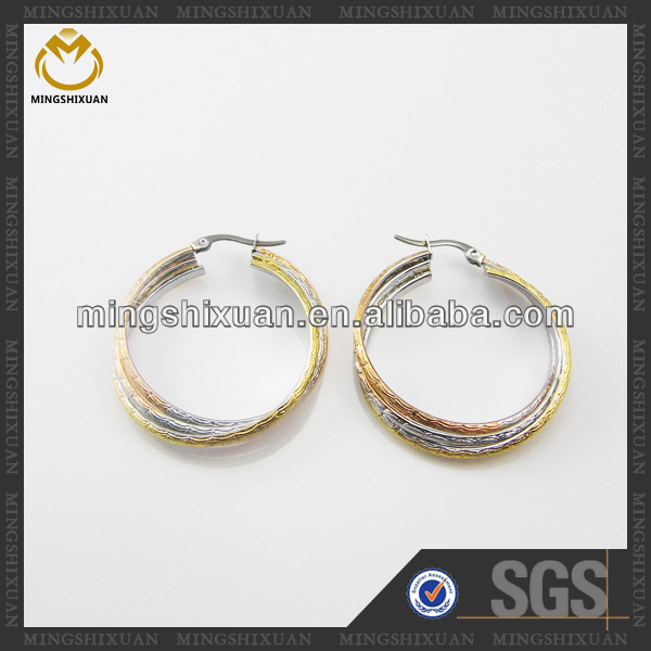 Wholesale Good Quality 3-Tone 24 Carat Gold Earrings