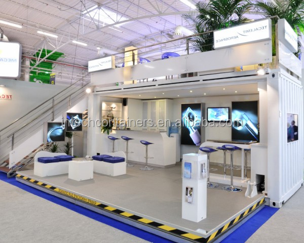 Pop-up container trade show booth, trade fair shipping container