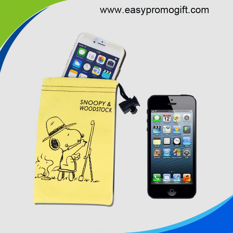 Custom printed microfiber bag pouch for smart phone with drawsting