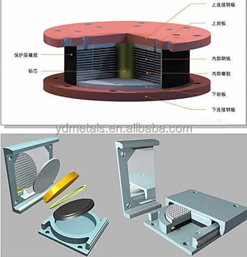 3mm thick steel plate inside structure embed Rubber Bridge Bearing