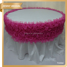 TS006 Organza fancy ruffled wedding table skirting designs